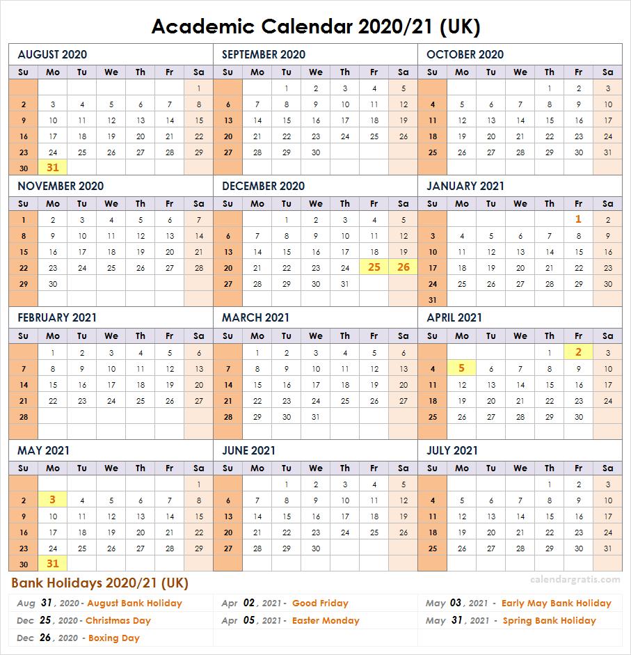 2021 Academic Calendar UK