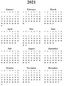 2021 Calendar Vertical (Portrait)