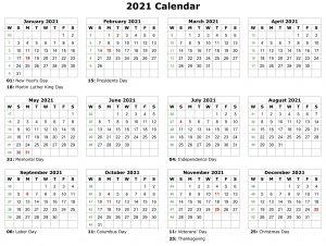 2021 Year Calendar Holidays