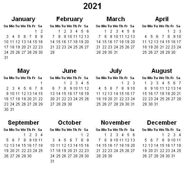 2021 Year Printable Calendar