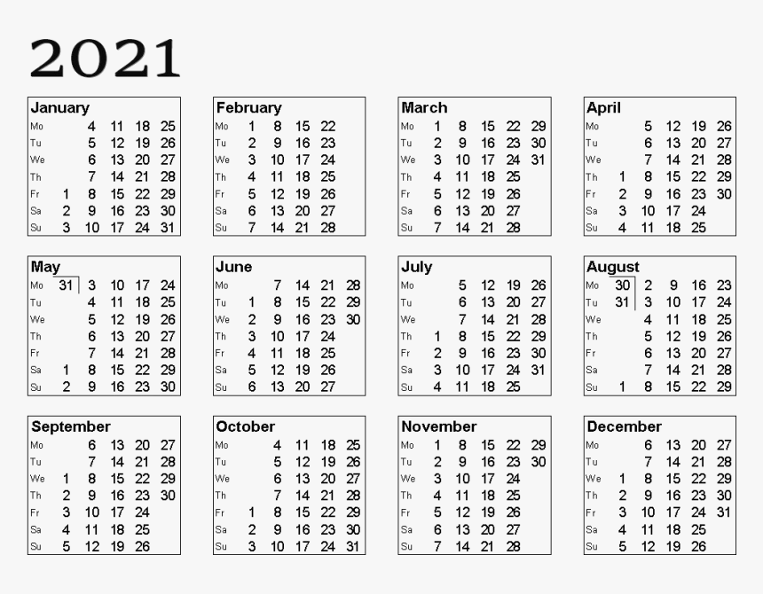 Calendar 2021 Free Download