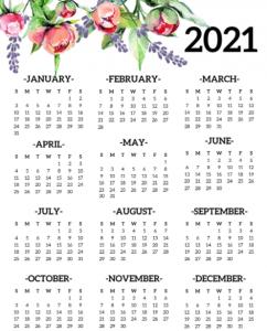 Cute 12 Month Calendar 2021