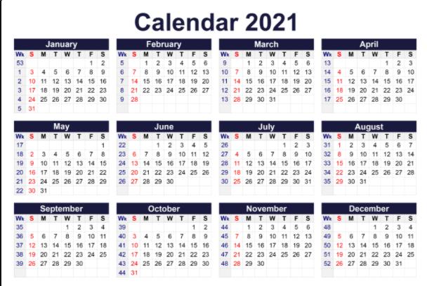 Free Calendar 2021 Printable PDF Word