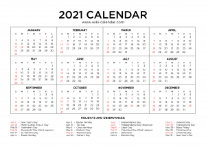 Free Printable Yearly 2021 Calendar