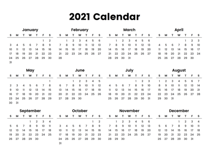 Printable 12 Month Calendar One Page