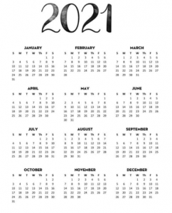 Printable 2021 Calendar One Page Template
