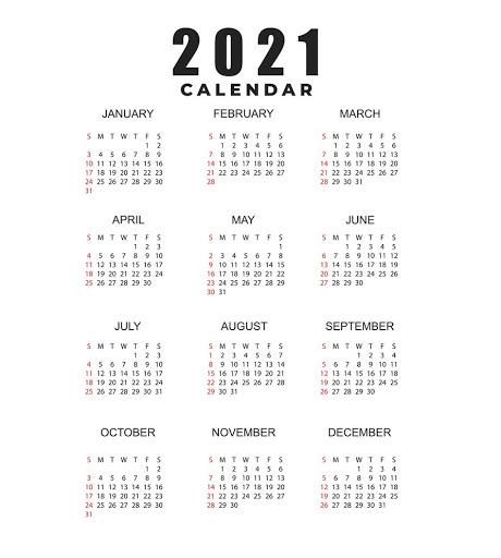 Printable 2021 Calendar PDF Word Excel