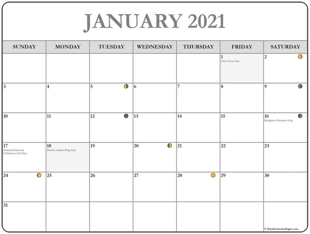 January 2021 Moon Phases Calendar Template