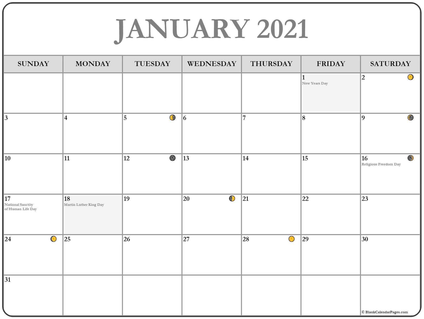 January 2021 Moon Phases Calendar Template