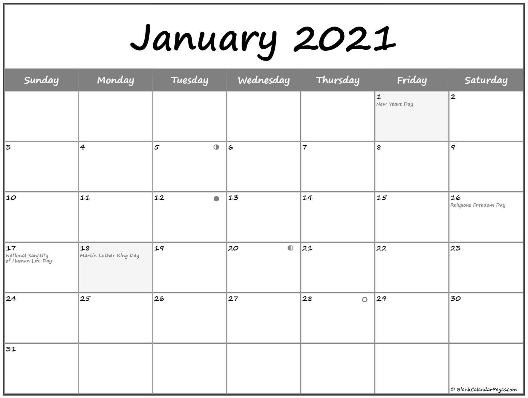 2021 January Moon Calendar