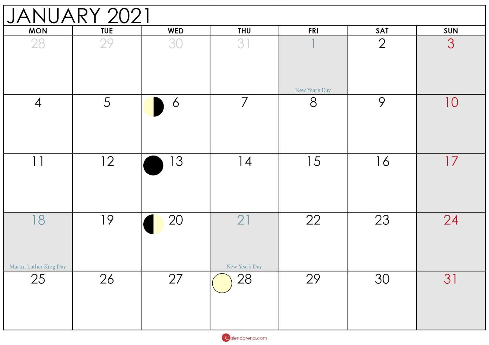 Full Moon Phases For January 2021 Lunar Calendar - New ...