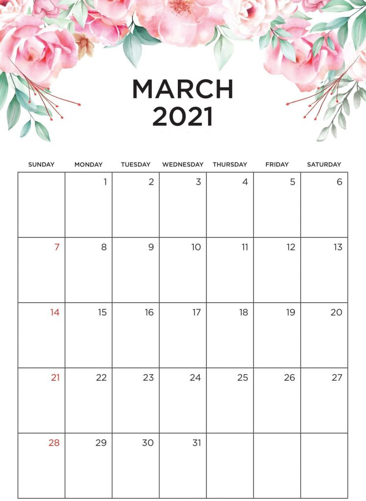 Cute March 2021 Desk Calendar Printable