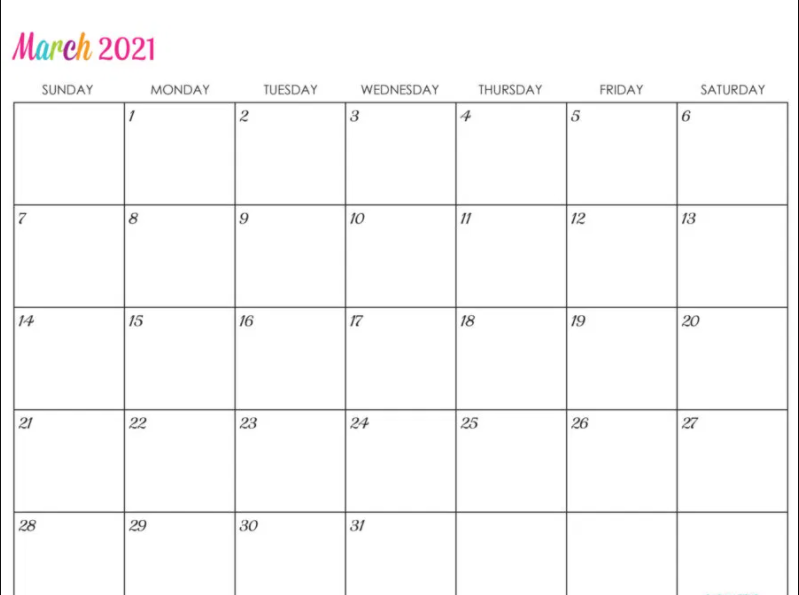 March 2021 Desk Calendar Template For Kids, Students