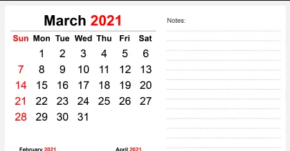 March 2021 Desk Calendar Template