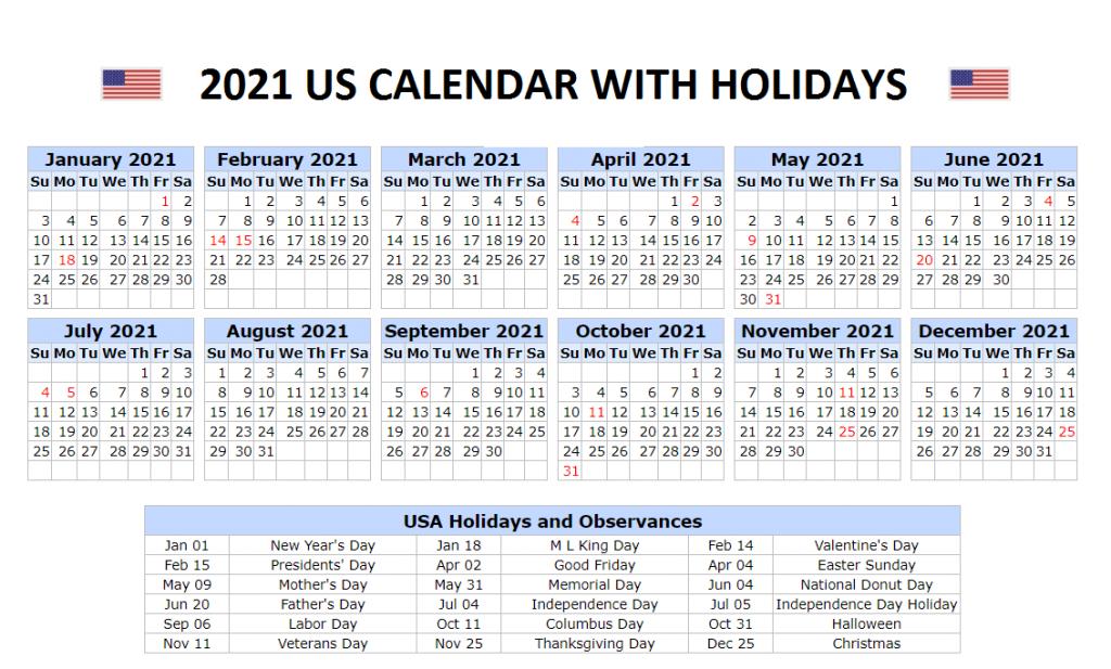 2021 USA Calendar with Holidays