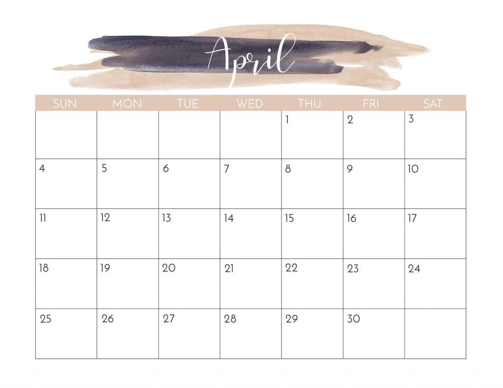 April 2021 Calendar Cute