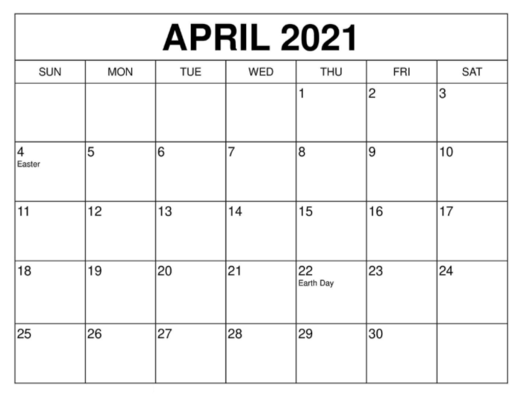 April 2021 Calendar Holidays uk