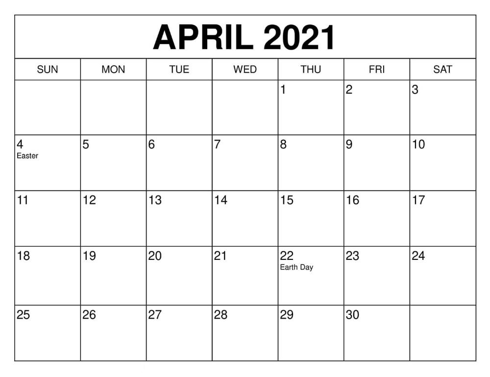 April 2021 Calendar UK USA Holidays Template