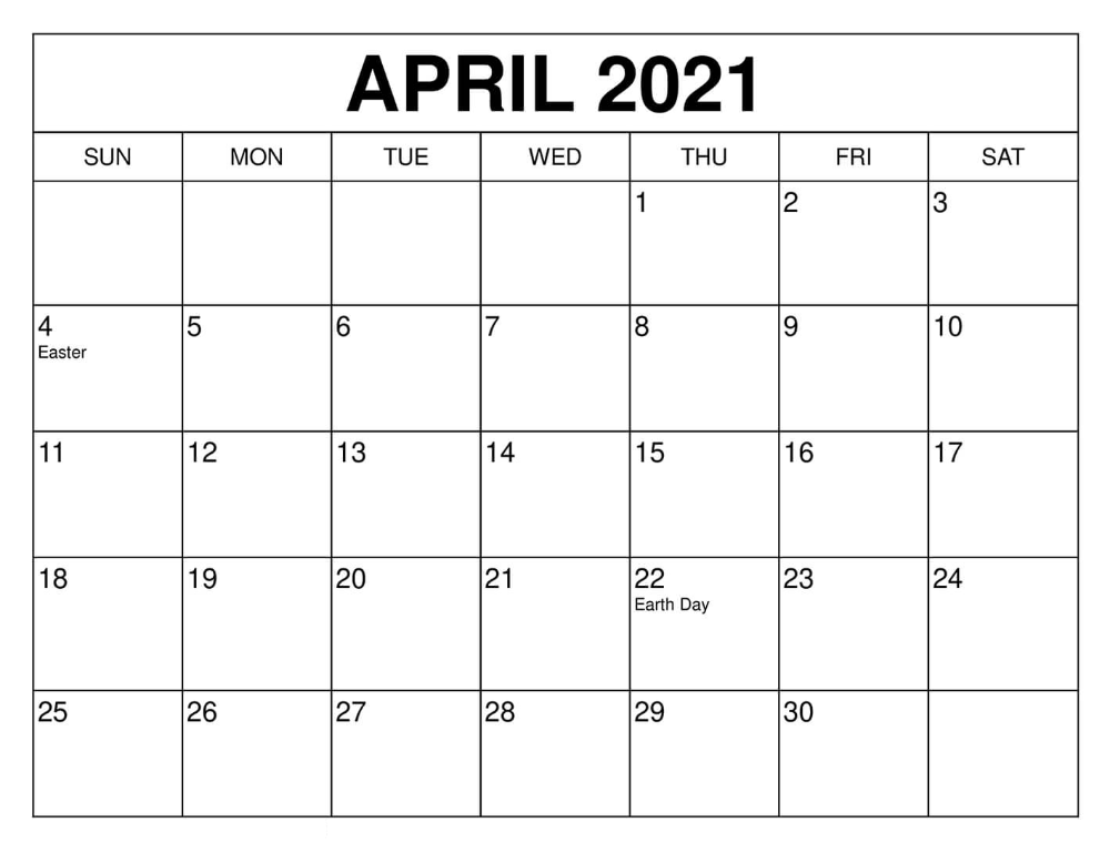 April 2021 Calendar with Holidays USA UK Template