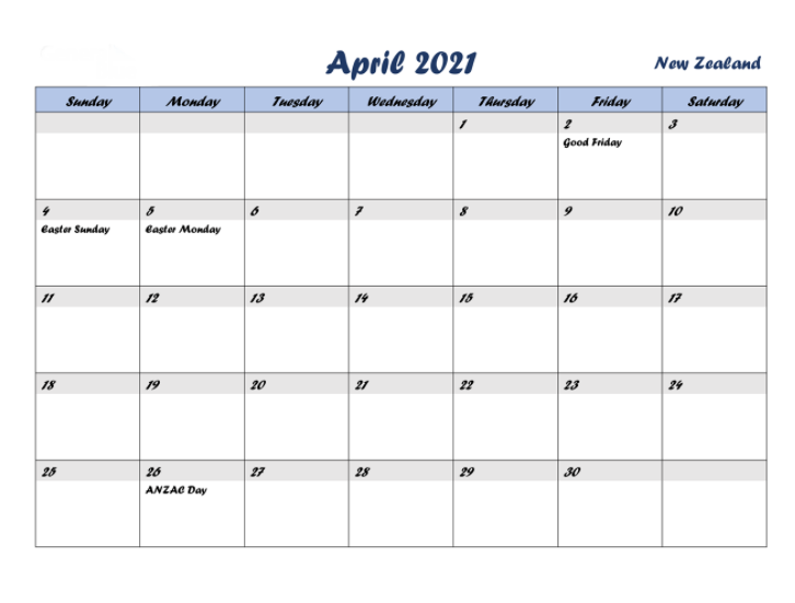 April 2021 Calendar with Holidays new zealand