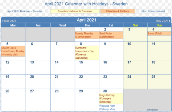 April 2021 Sweden Calendar Holidays