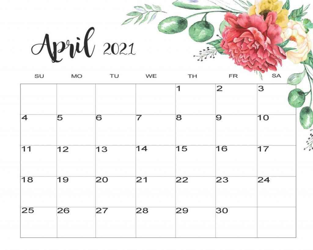 Cute April 2021 Calendar Floral