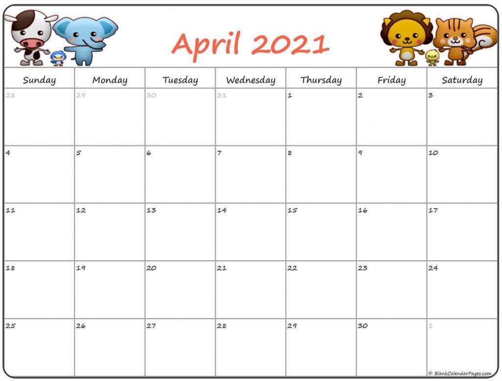 Cute April 2021 Calendar Printable