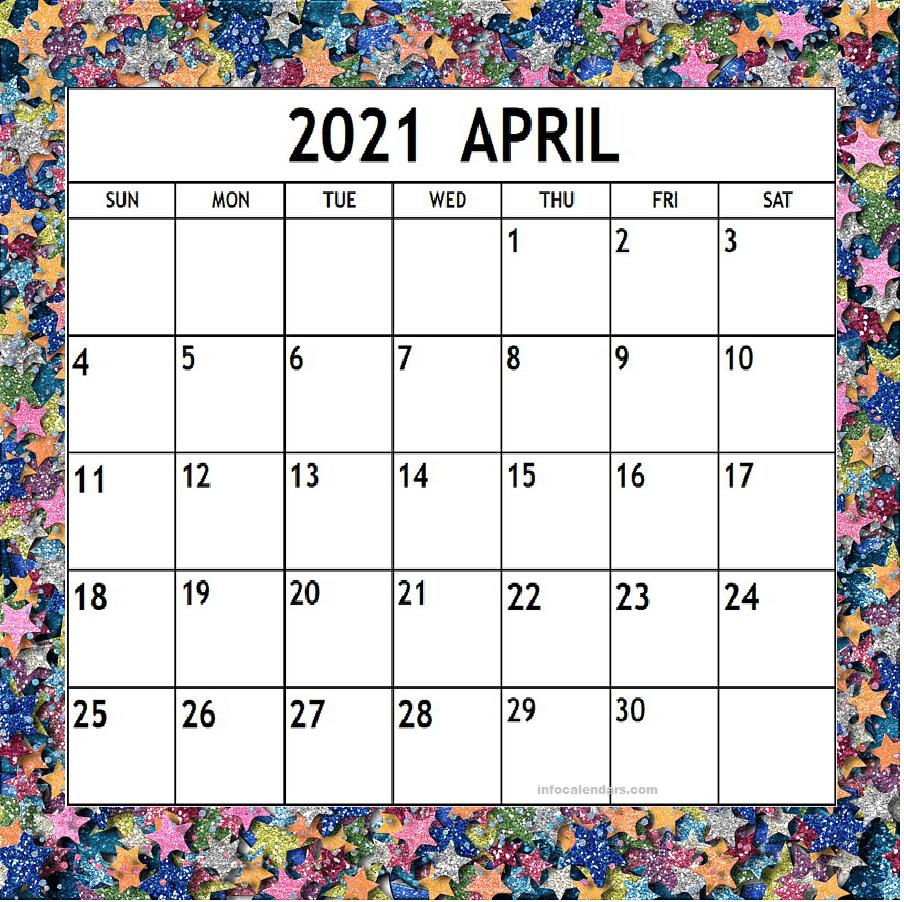 Cute April 2021 Calendar Template