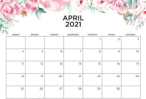 Cute April 2021 Floral Template