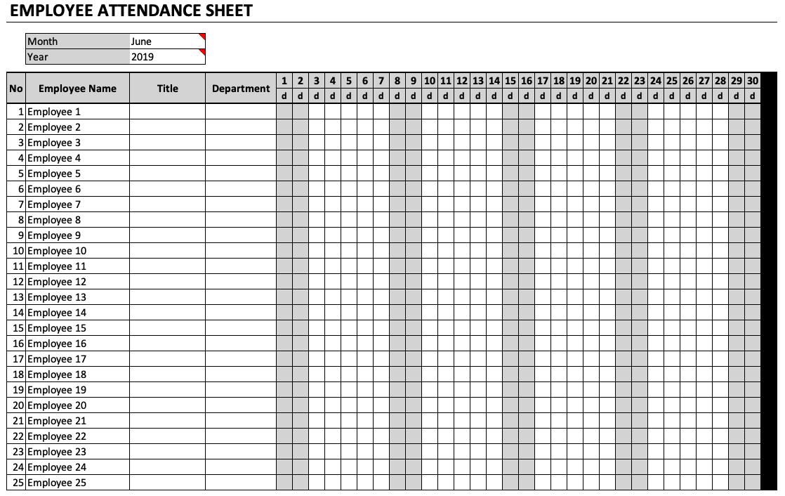 Employee Attendance Sheet 2021