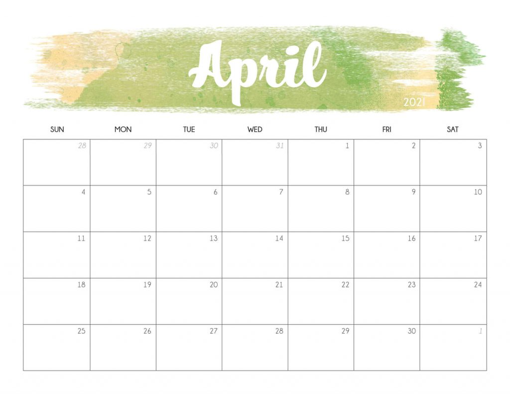 Floral April 2021 Calendar Cute Printable