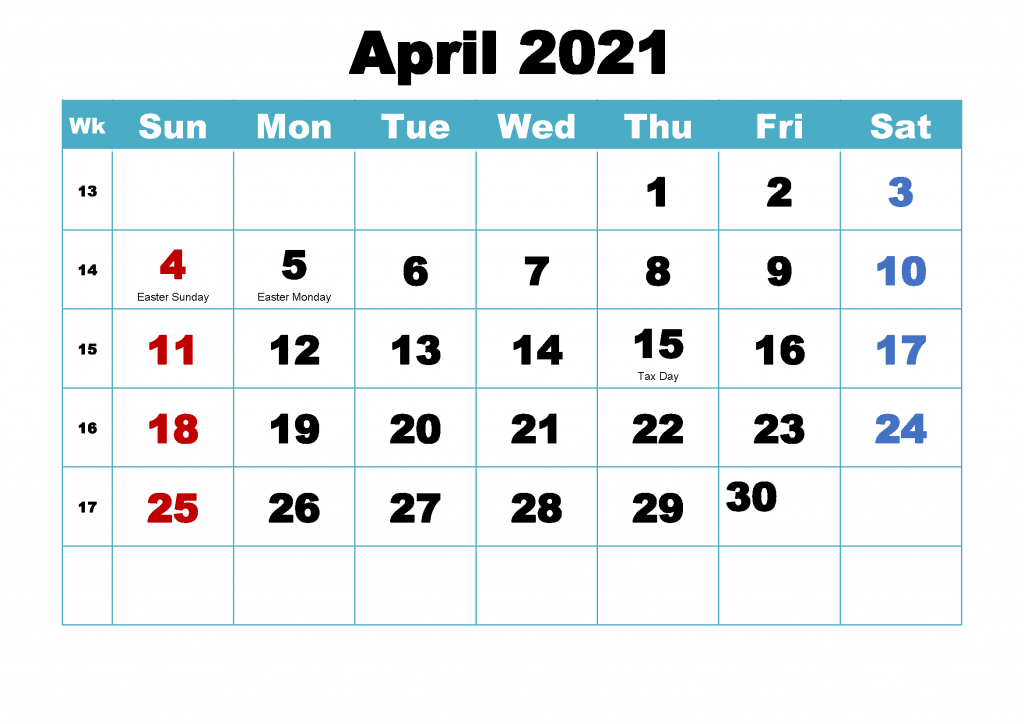 Free April 2021 Printable Calendar Holidays