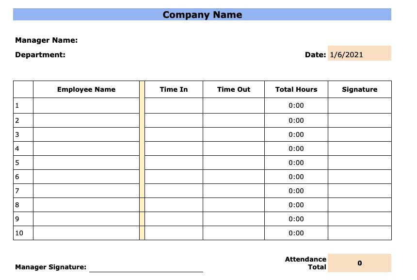 Free Employee Attendance Sheet Templates