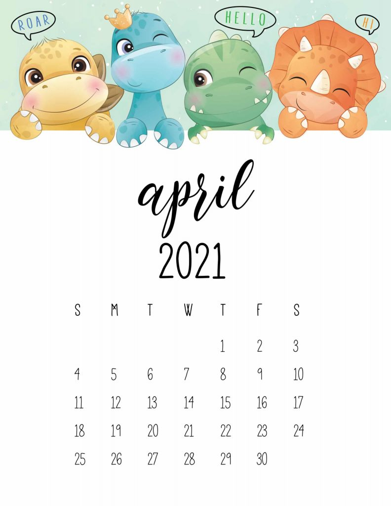 Printable April 2021 Calendar Cute