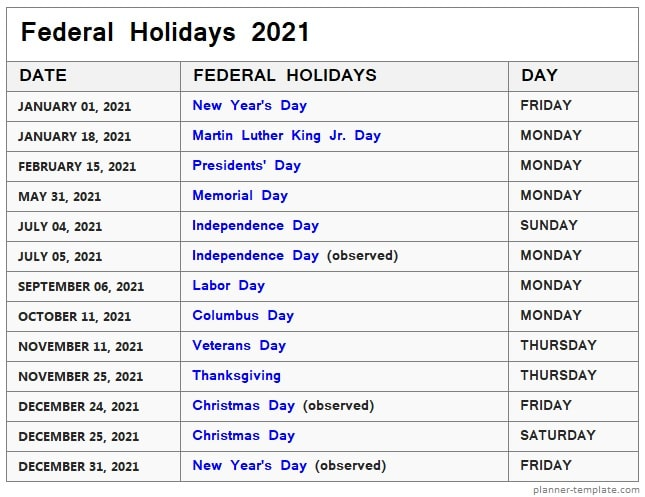 US Federal Holidays 2021 List