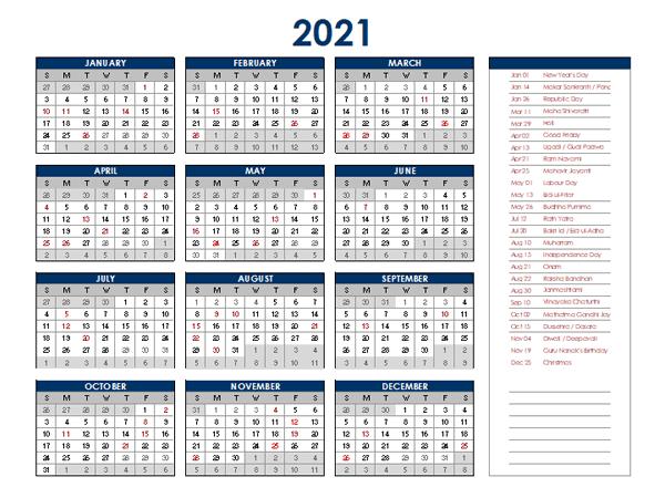 2021 India Annual Calendar with Holidays