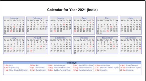2021 Indian Calendar-with Holidays