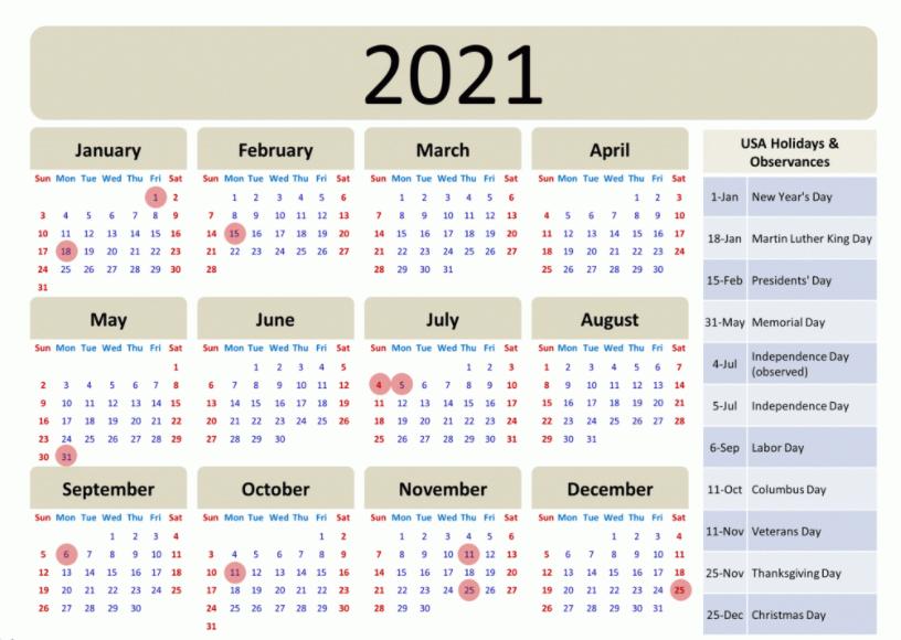 2021 USA Holidays List