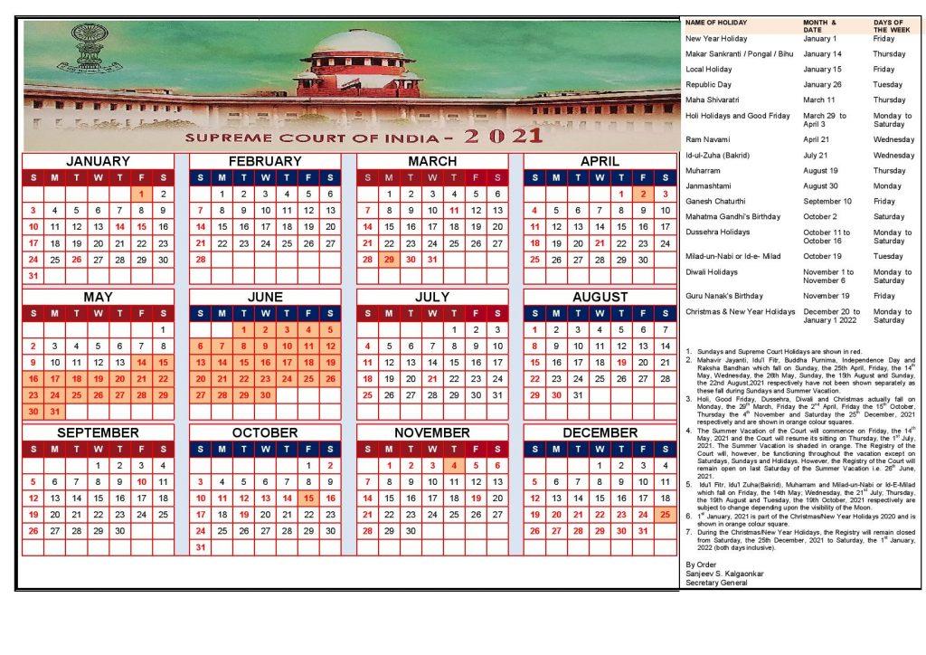 Supreme court 2021 calendar with holidays