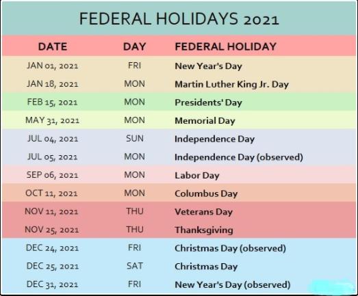 USA Federal Holidays 2021